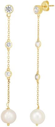 Sphera Milano 14K Yellow Gold Plated Sterling Silver CZ & Freshwater Pearl Linear Drop Earrings