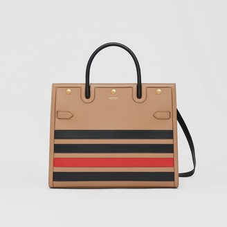 Burberry Medium Striped Intarsia Leather Two-handle Title Bag