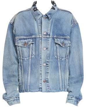 Balenciaga Cut Waistband Logo Denim Jacket