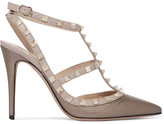 Valentino Rockstud Metallic Textured-leather Pumps - IT40