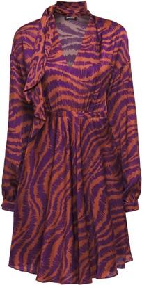 Just Cavalli Tie-neck Gathered Zebra-print Satin Mini Dress