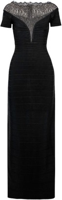 Herve Leger Chantilly Lace-paneled Bandage Gown