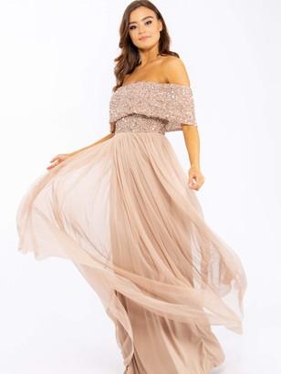 Maya Deluxe Women's Maya Taupe Blush Bardot Embellished Maxi Dress Bridesmaid 14