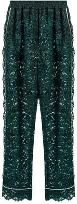 Dolce & Gabbana High-rise Straight-leg Cordonetto-lace Trousers - Womens - Green