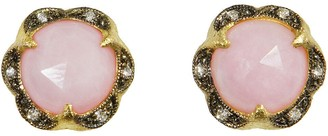 Cathy Waterman Pink Opal Scalloped Frame Stud Earrings
