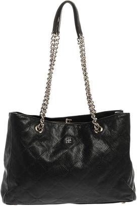 Carolina Herrera Black Leather Chain Shopper Tote