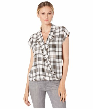 Vince Camuto Women's Extend Shoulder Highland Plaid Blouse