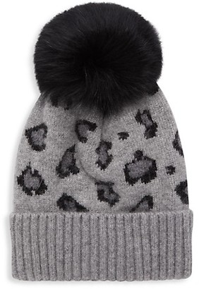 Adrienne Landau Fox Fur-Trim Leopard-Print Knit Beanie