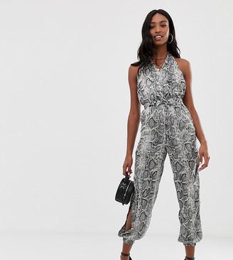 Parisian Tall snake print jumpsuit-Gray