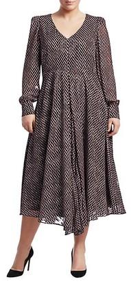 Marina Rinaldi, Plus Size Square Print Long Sleeve Dress
