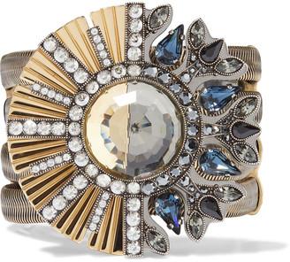 Lanvin Gold-tone, Gunmetal-tone, Grosgrain And Crystal Bracelet