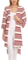 Red Mixed Stripe Open Cardigan