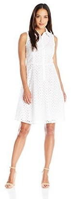 London Times Women's Petite Branch Leaf Eyelet Fit and Flare