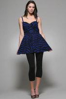Shumaq Marissa Dress in Blue and Black Zebra Print