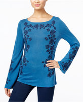 INC International Concepts Embroidered Boat-Neck Top, Only at Macy's