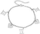 Silvertone Roman Numeral & Heart Charm Anklet