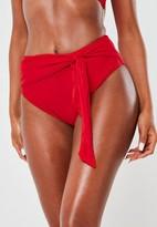 Missguided Red High Waisted High Leg Tie Bikini Bottoms