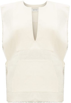 Matteau - Fringed Edge Linen Poncho - Womens - White