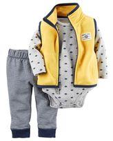 Carter's Baby Boy Fleece Vest, Bodysuit & Striped Pants Set