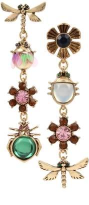 Betsey Johnson Goldtone Crystal Mixed Bug Flower Charm Mismatch Earrings