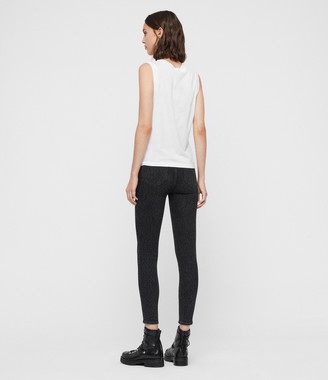 AllSaints Grace Leopard Cropped Mid-Rise Jeans, Washed Black