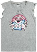Karl Lagerfeld Cat Print Cotton Jersey Top
