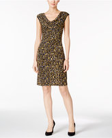 Kasper Printed Cowl-Neck Sheath Dress