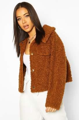 boohoo Bonded Teddy Faux Fur Jacket
