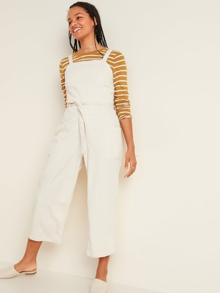 Old Navy Sleeveless Tie-Belt Off-White Jean Utility Jumpsuit for Women