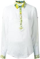 Versace printed trim blouse - women - Silk/Viscose - 40