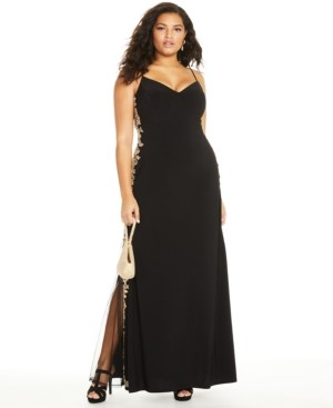 B. Darlin Trendy Plus Size Rhinestone Applique Gown