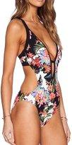 finebijou Women's Cute Printed Floral Halter One Piece Bikini Set Swimsuit Swimwear (L)