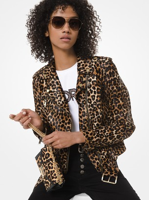 MICHAEL Michael Kors Leopard-Print Leather Moto Jacket