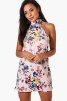 boohoo Petite Rosa Oriental Print High Neck Shift Dress multi