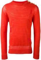Balmain embossed striped jumper - men - Linen/Flax - S