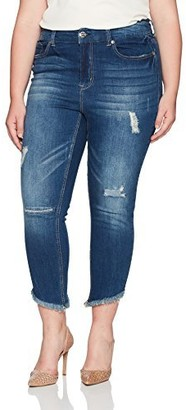 Seven7 Women's Plus Size High Rise Ankle Skinny