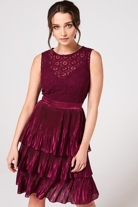 Little Mistress Nikki Mulberry Crochet Lace Layered Dress