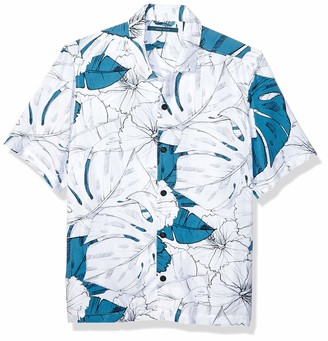 Perry Ellis Men's Hibiscus Print Short Sleeve Shirt
