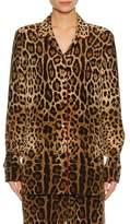 Dolce & Gabbana Leopard-Print Silk Pajama Shirt, Leopard