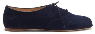 Gabriela Hearst Maya Square-toe Suede Oxford Shoes - Navy