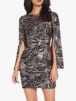 Adrianna Papell Split Sleeve Sequin Dress, Black/Rose Gold