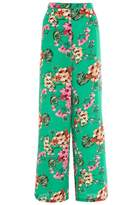 Quiz Green And Pink Crepe Palazzo Trousers