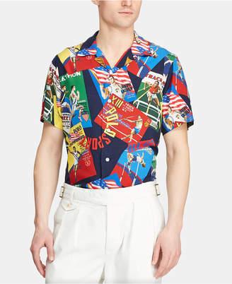Polo Ralph Lauren Men Custom Fit Chariots Rayon Camp Collar Shirt