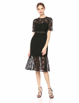 AVEC LES FILLES Women's Lace Dress with Ruffled Hem
