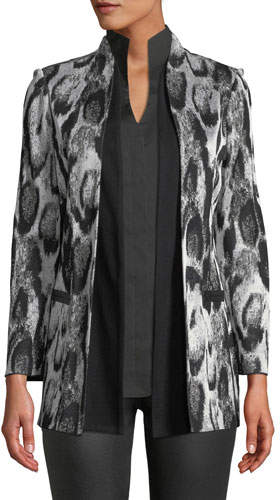 Misook Plus Size Snow Leopard Printed Jacket w/ Shawl Front