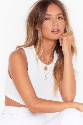 Nasty Gal Womens Chasing the Moon Layered Pendant Necklace - metallics - One Size