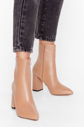 Nasty Gal Womens Hey Sole Sister Faux Leather Heeled Boots - Beige - 3