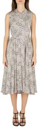 Rebecca Taylor Pale Pink Silk Animal Print Ruched Midi Dress M