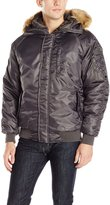 Southpole Men's Padded Bomber Jacket with Hood and Faux Fur Trim