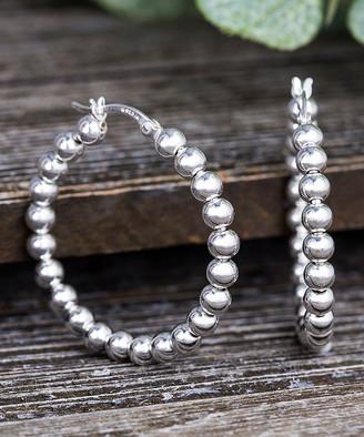 Bliss Women's Earrings Silver - Sterling Silver Beaded Hoop Earrings